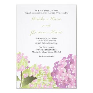 Invitación rosada del boda del Hydrangea