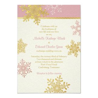 Invitación rosada del boda del invierno del copo