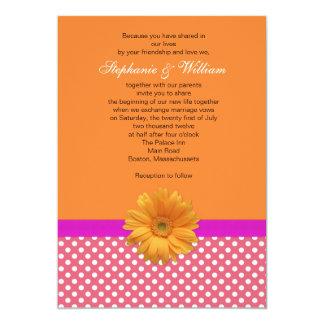 Invitación rosada del boda del lunar y del coral