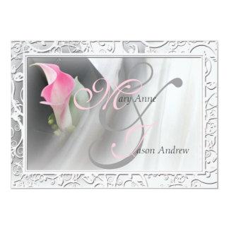 Invitación rosada del boda del marco del Flourish
