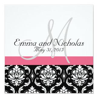 Invitación rosada del boda del monograma de la