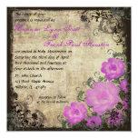 Invitación rosada del boda del vintage de los invitación 13,3 cm x 13,3cm