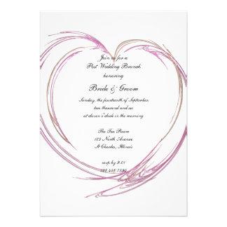 Invitación rosada del brunch del boda del poste de