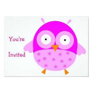 Invitación rosada del búho