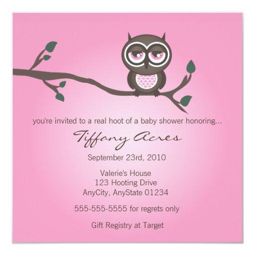 Invitación rosada del búho invitación 13,3 cm x 13,3cm