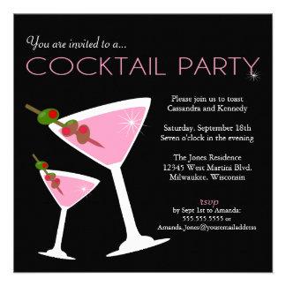 Invitación rosada del cóctel de Martini