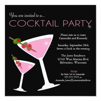 Invitación rosada del cóctel de Martini Invitación 13,3 Cm X 13,3cm