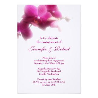 Invitación rosada del compromiso de la orquídea