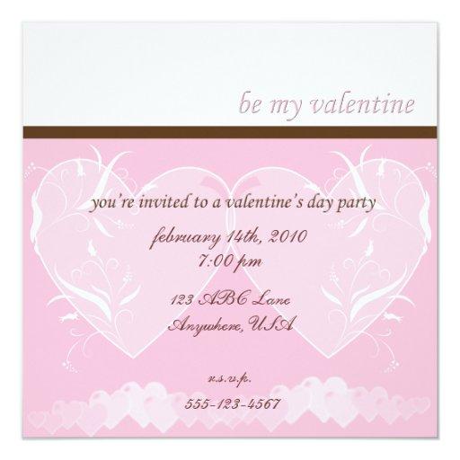 Invitación rosada del corazón
