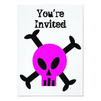 Invitación rosada del cráneo y de la bandera