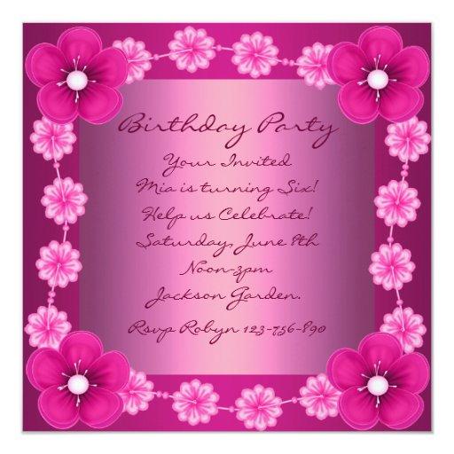 Invitación rosada del cumpleaños de la flor