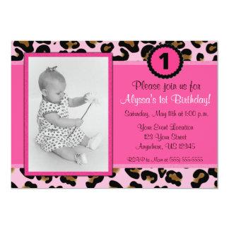 Invitación rosada del cumpleaños de la foto del