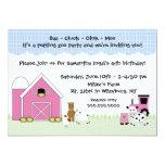 Invitación rosada del cumpleaños de la granja del