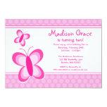 Invitación rosada del cumpleaños de la mariposa invitación 12,7 x 17,8 cm