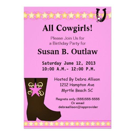 Invitación rosada del cumpleaños de la vaquera