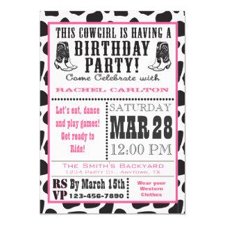 Invitación rosada del cumpleaños de la vaquera de