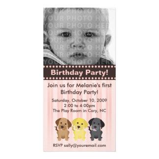 Invitación rosada del cumpleaños de Thee Labradors Tarjetas Personales Con Fotos