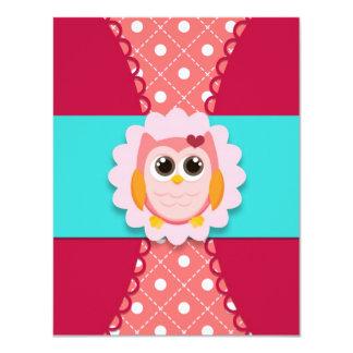 Invitación rosada del cumpleaños del búho para los invitación 10,8 x 13,9 cm