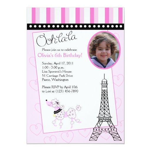Invitación rosada del cumpleaños del caniche 5x7