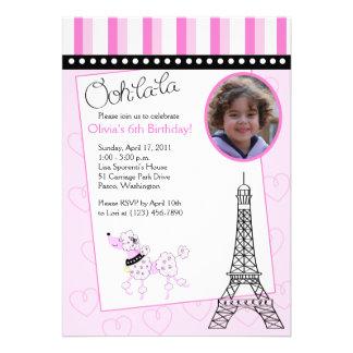 Invitación rosada del cumpleaños del caniche 5x7 d