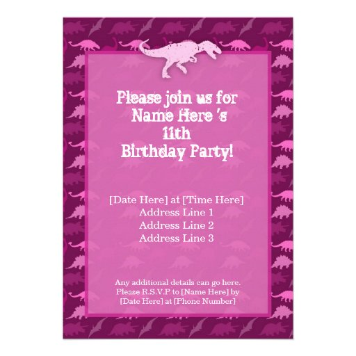 Invitación rosada del cumpleaños del dinosaurio