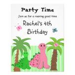 Invitación rosada del cumpleaños del dinosaurio de