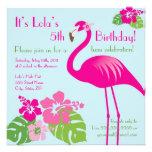 Invitación rosada del cumpleaños del flamenco