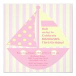 Invitación ROSADA del cumpleaños del velero