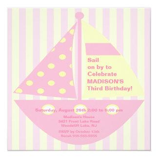 Invitación ROSADA del cumpleaños del velero Invitación 13,3 Cm X 13,3cm