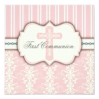 Invitación rosada del damasco de la primera invitación 13,3 cm x 13,3cm