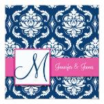 Invitación rosada del damasco de los azules