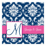 Invitación rosada del damasco de los azules marino