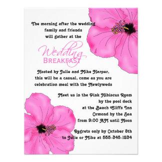 Invitación rosada del desayuno del boda del hibisc