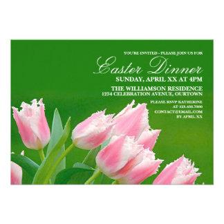 Invitación rosada del fiesta de cena de Pascua de