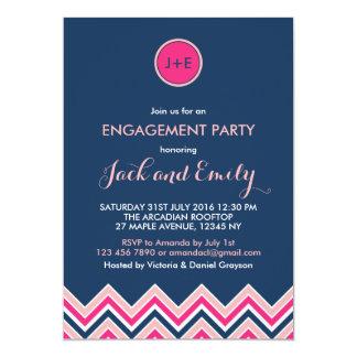 Invitación rosada del fiesta de compromiso de