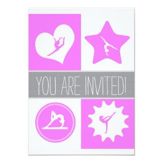 Invitación rosada del fiesta de los cuadrados de