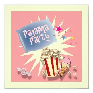Invitación rosada del fiesta de pijama del