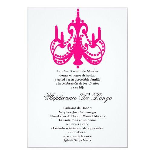 invitación rosada del fiesta de Quinceanera de la