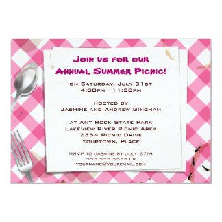 Invitación rosada del fiesta del Bbq de la comida