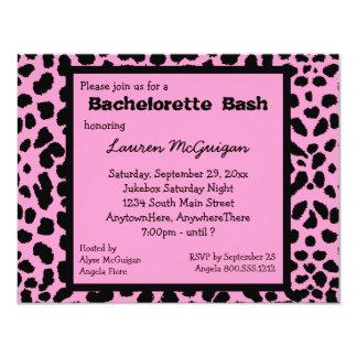 Invitación rosada del fiesta del estampado
