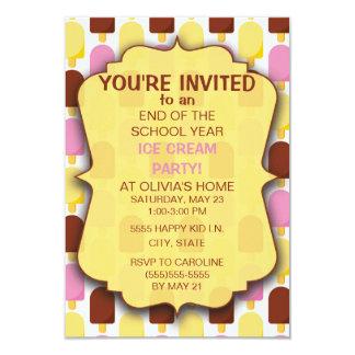 Invitación rosada del fiesta del helado de Brown
