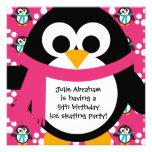 Invitación rosada del fiesta del pingüino