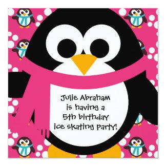 Invitación rosada del fiesta del pingüino invitación 13,3 cm x 13,3cm