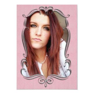 Invitación rosada del marco de la foto de la