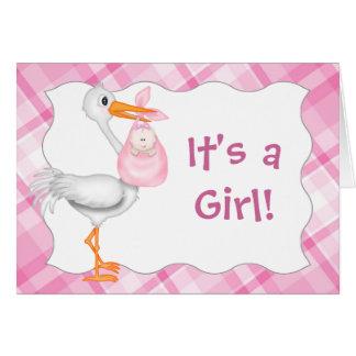 Invitación rosada del nacimiento de la niña tarjeta de felicitación