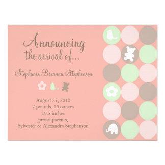 Invitación rosada del nacimiento de los puntos - s