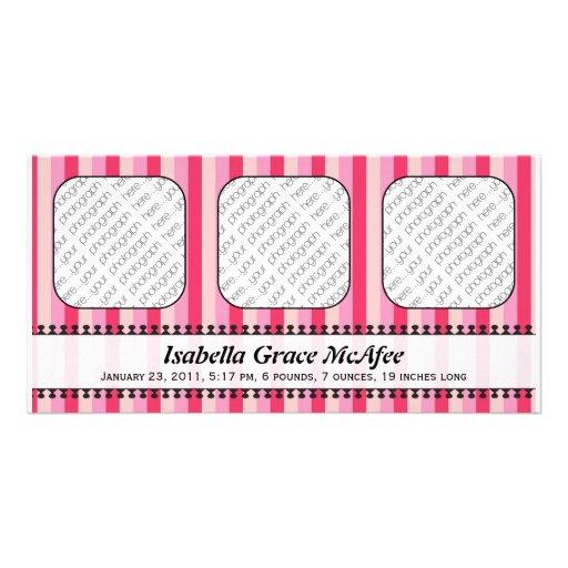 Invitación rosada del nacimiento de los toldos bri tarjetas personales