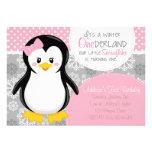 Invitación rosada del pingüino de ONEderland del i