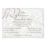 Invitación rosada del rosario y de la comunión del invitación 12,7 x 17,8 cm