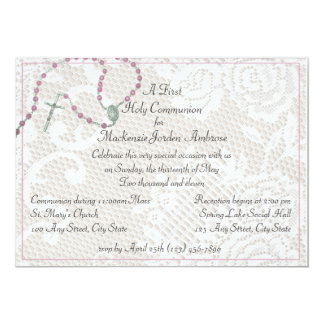 Invitación rosada del rosario y de la comunión del